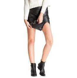 Pu Faux Leather Asymmetrical Hem Irregular Mini Pencil Skirt Women's