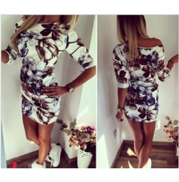 Floral Print Ruched Elegant Casual Dress Women's