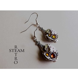 Steampunk Crystal Volcano Earrings Steamretro