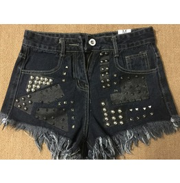Punk Demin Blue/Grey Shorts With Rivet Studs