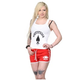 Toxico Clothing Red White Skull & Bones Womens Retro Sports Shorts
