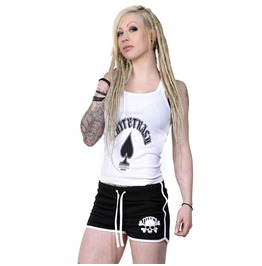 Toxico Clothing Black White Skull & Bones Womens Retro Sports Shorts