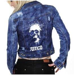 Toxico Clothing Blue Splatter Skull Denim Jacket