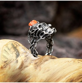 "Sterling Silver Sugar Skull Ring With Naturall Coral ""Ars Moriendi"", Female"