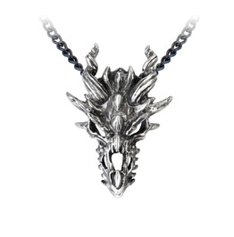 Dragon Skull Men's Alternative Necklace By Alchemy Gothic
