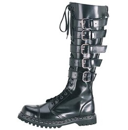Demonia Gravel 20 Gothic Industrial Cyber Cosplay Ebm Buckle Biker Boots
