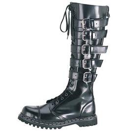 Demonia Gravel 20 Gothic Industrial Cyber Cosplay Ebm Buckle Biker Boots