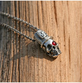 "Gothic Spooky Ruby Pendant Necklace ""Black Dead"", Skull Pendant"