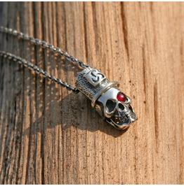 "Gothic Spooky Ruby Pendant Necklace ""Black Dead"", Skull Pendant"