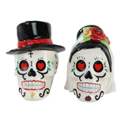 Day Of The Dead Wedding Skulls Salt And Pepper Shaker