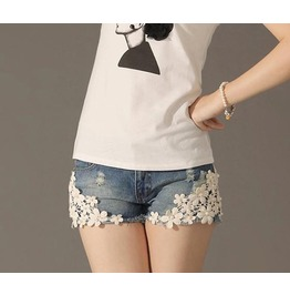 Denim Shorts Summer Style Lace Floral Beading Wash Jeans Shorts Women's