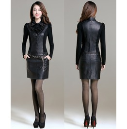 Two Piece Outfits Pu Dress Autumn Long Sleeved Pu Leather Dresses Plus Size