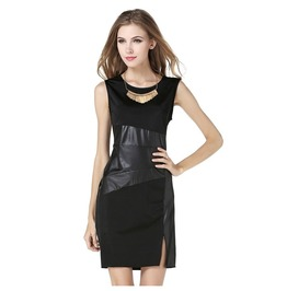 Black Pu Leather Patchwork Sleeveless Elegant Slim Pencil Work Dress