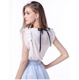 Chiffon Shirt Ruffles Short Sleeve O Neck Ladies Casual Shirt