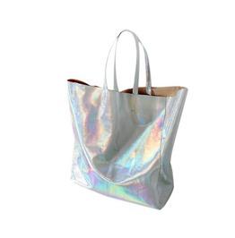 Women Laser Pu Leather Simple Shopper Tote Handbag