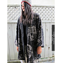Lotus Flower Japanese Samurai Kimono Jacket Coat For Ladies & Men Gothic
