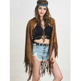 Tassel Faux Suede Leather Batwing Sleeve Cut Shawl Women's