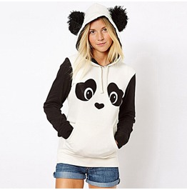 White Panda Cute Hoodies Sweatshirt Plus Size Women's