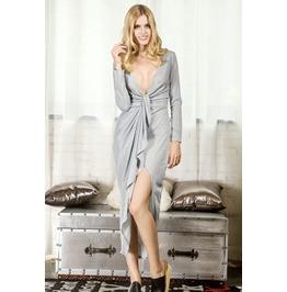 Grey Wrap Asymmetric Bodycon Maxi Dress Long Sleeve