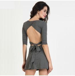 Backless Sleeve Bowknot Tied Waist Mini Skater Dress Quarter Sleeve