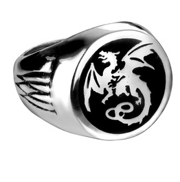 Wyverex Dragon Signet Men's Gothic Ring By Alchemy Gothic