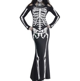 Black Skeleton Print Maxi Bodycon Dress Long Sleeve Dress
