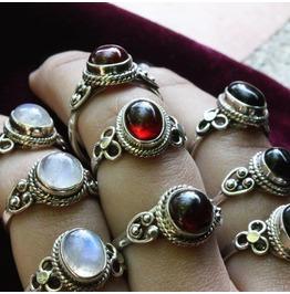 Luna Red Garnet 925 Sterling Silver Ring