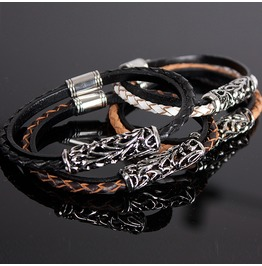Unique Pattern Metal Braided Leather Bracelet 44