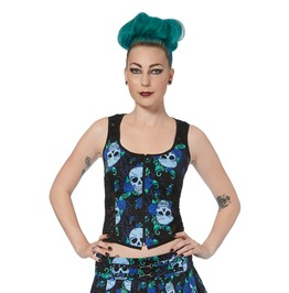 Jawbreaker Clothing Blue Skull Corset