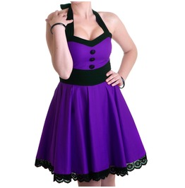 Purple Fever Dress Cotton Black Prom Halter Bow Rockabilly Vintage Handmade