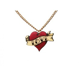 Love Heart Necklace Handmade Jewelry Tattoo Red Gold Chain Glam Punk Rocker