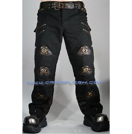 Steampunk Warrior Cyberpunk Riveted Black & Brown Pants Small