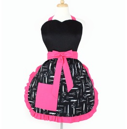 Black And Pink Scissors Apron