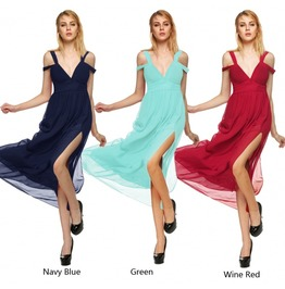 Caliente! Chiffon Pleated Deep V Neck Dress Sv008298dll