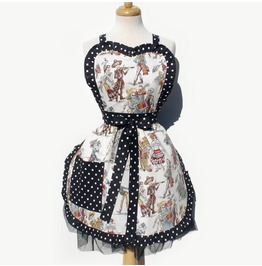 Catrinas White With Black Polkadot Trim Apron