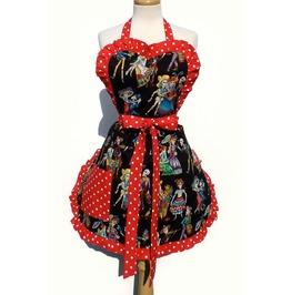 Catrinas Black With Red Polkadot Trim Apron
