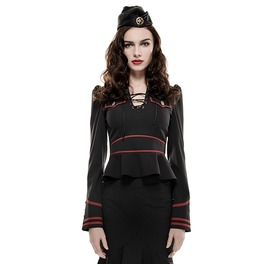 Pin Up Military Army Officer Costume Long Sleeve Black Red Blouse Top Shirt