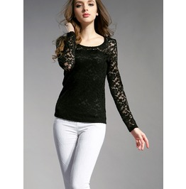 Lace Blouse Fashion Crochet Lace Tops Long Sleeve Women's