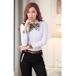 Office Shirts Women Blouse Long Sleeve Bow Tie Formal Blouses