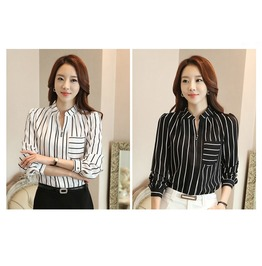 Vertical Striped Blouse Women Long Sleeve Chiffon Shirts Blouse