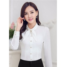 Office Shirts Long Sleeve Multicolor Tie Chiffon Women Blouses