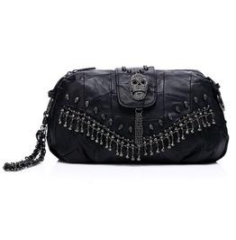 Skull Handbag Leather Black