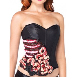 Blood And Guts Sexy Ribs And Bones Fun Black Halloween Zombie Sexy Corset