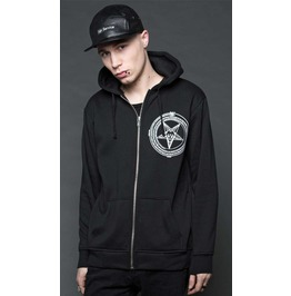 Lip Service Black Satanic Cybergoth Punk Industrial Comfy Pentagram Hoodie