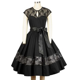 Black Lacy Knee Length Rockabilly Retro Swing Dress $9 To Ship Worldwide