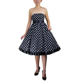 Black White Polkadot Strapless Rockabilly Swing Dress $9 To Ship Worldwide