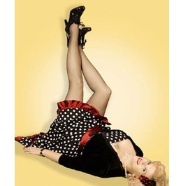 Black White Polkadot Red Trim Retro Rockabilly Dress Free To Ship Worldwide