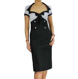 Black White Cute Retro Rockabilly Pin Up Pencil Dress Free Shipping