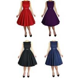 Purple Blue Red Or Black Classic 50s Swing Dress Plus Sizes Free Shipping