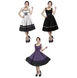 Purple White Or Black Retro Pin Up 50s Swing Dress Plus Sizes Free To Ship